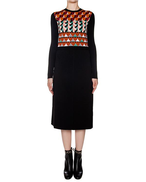 платье приталенного кроя из мягкой шерсти с геометрическим рисунком артикул LR3KD0D9 марки Valentino Red купить за 22300 руб.