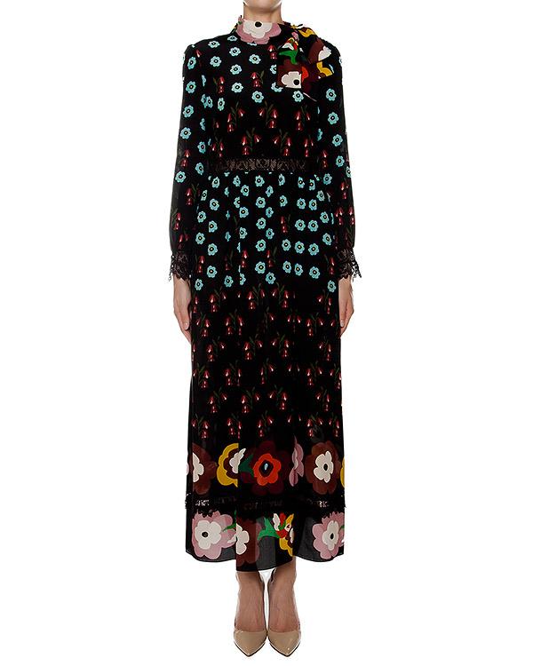 платье из шелка с ярким цветочным принтом, дополнено кружевной вставкой артикул LR3VA2Z5 марки Valentino Red купить за 50600 руб.
