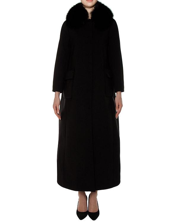 пальто в пол из плотной ткани, дополнен воротом из меха лисы артикул M114 марки Dice Kayek купить за 138700 руб.