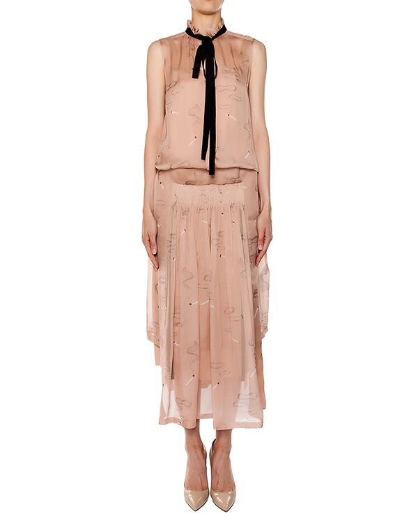платье из легкого шелка, дополнен складками и завязками артикул M2S0H042 марки № 21 купить за 61300 руб.