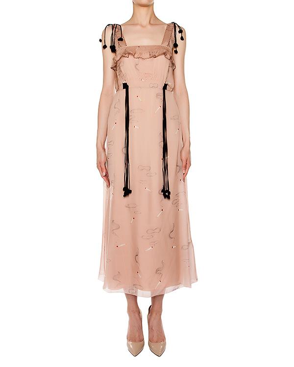 платье приталенного кроя из легкого шелка, дополнен оборками и завязками артикул M2S0H123 марки № 21 купить за 52500 руб.