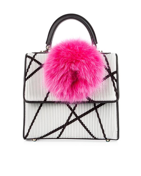 сумка из натуральной рифленой кожи, декорирована помпоном артикул MABN-TS2-V10 марки Les petits joueurs купить за 35000 руб.