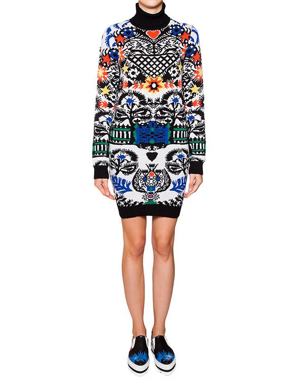 платье свободного кроя из мягкой шерсти крупной вязки с ярким рисунком артикул MDA105 марки MSGM купить за 14600 руб.
