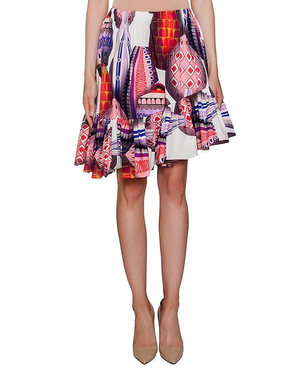 юбка асимметричного кроя из легкого хлопка с ярким рисунком артикул MDD128 марки MSGM купить за 12100 руб.
