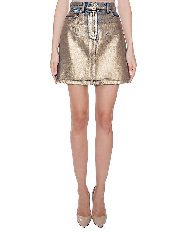 юбка из плотного денима с покрытием артикул MDD45L марки MSGM купить за 9300 руб.