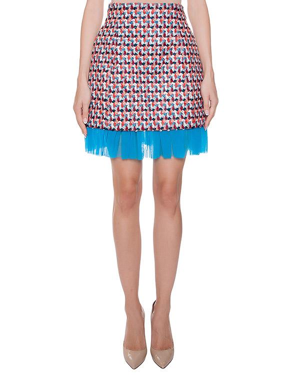 юбка из цветной буклированной пряжи, дополнена контрастной отделкой артикул MDD47Y марки MSGM купить за 12800 руб.