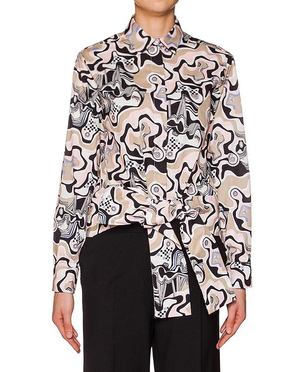 блуза из плотного хлопка с абстрактным принтом; широкий пояс артикул MDE08-11 марки MSGM купить за 13800 руб.