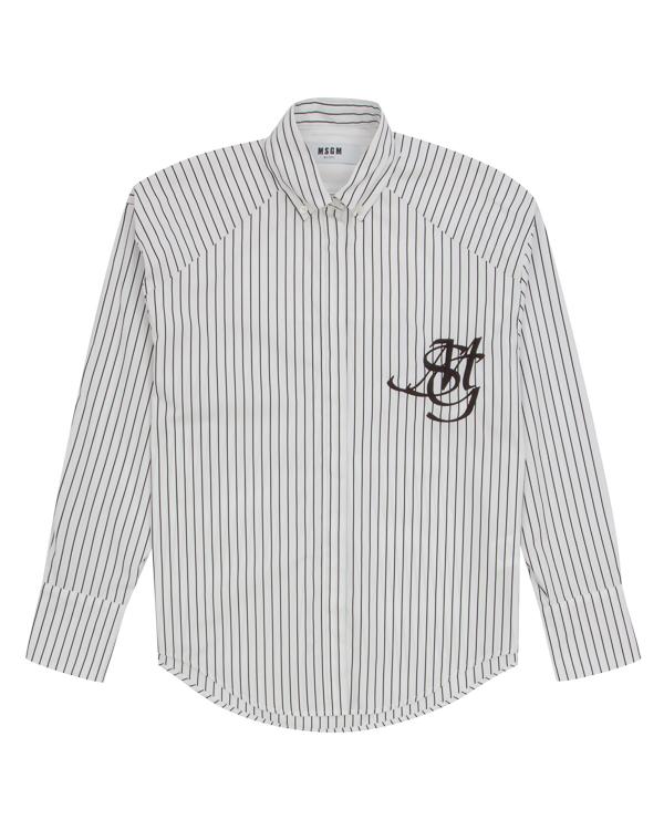 рубашка из хлопка в бейсбольном стиле  артикул MDE104X марки MSGM купить за 19800 руб.