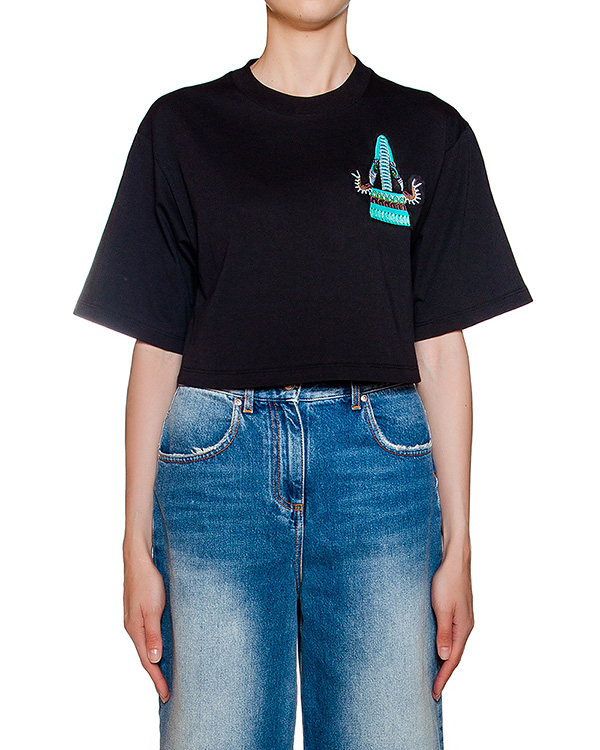 футболка укороченного кроя из хлопкового трикотажа с вышивкой артикул MDM159 марки MSGM купить за 5100 руб.
