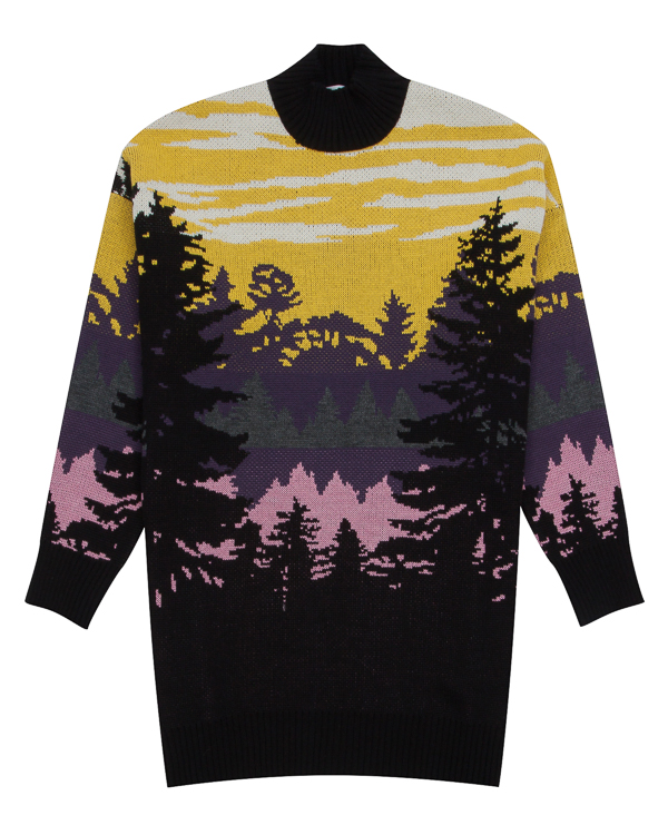 свитер удлиненного силуэта с пейзажным рисунком артикул MDM223 марки MSGM купить за 27000 руб.