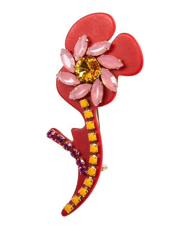брошь в виде цветка, выполена из пластика и крупных цветных кристаллов артикул MIOSH030007 марки P.A.R.O.S.H. купить за 11500 руб.