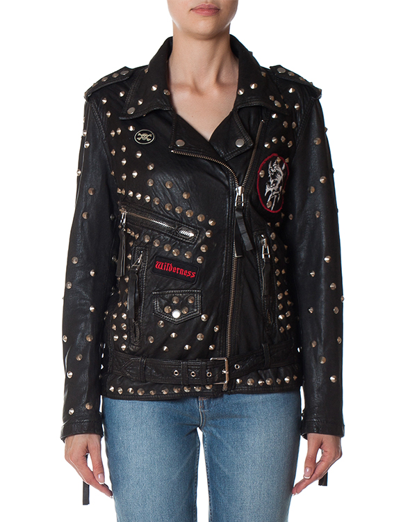 куртка из мягкой кожи с отделкой металлическими шипами артикул MOUSE430597 марки P.A.R.O.S.H. купить за 69500 руб.