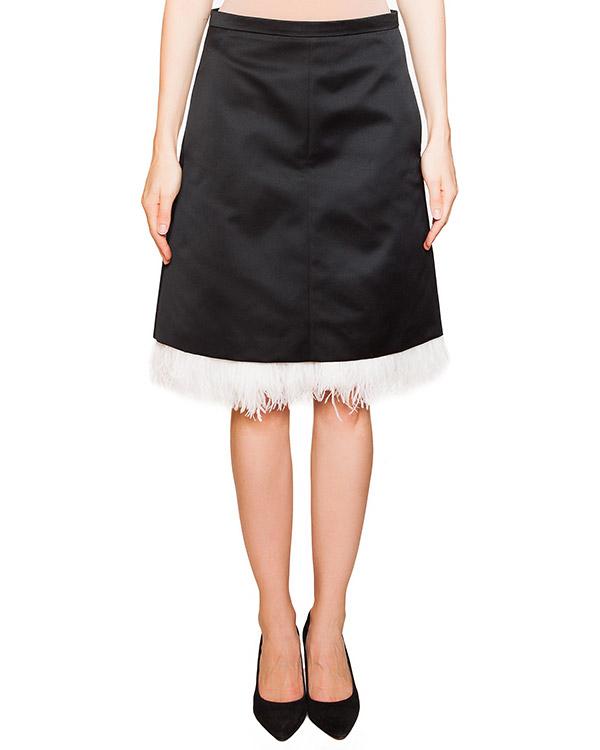 юбка из плотной гладкой ткани, декорирована перьями старуса артикул N2MC042 марки № 21 купить за 20600 руб.
