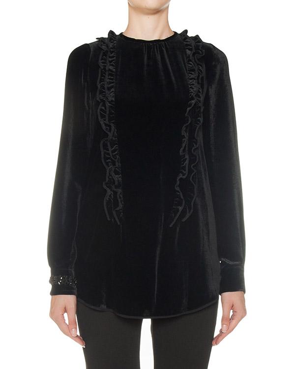 блуза из бархатного материала с отделкой рюшами артикул N2MG201 марки № 21 купить за 53600 руб.