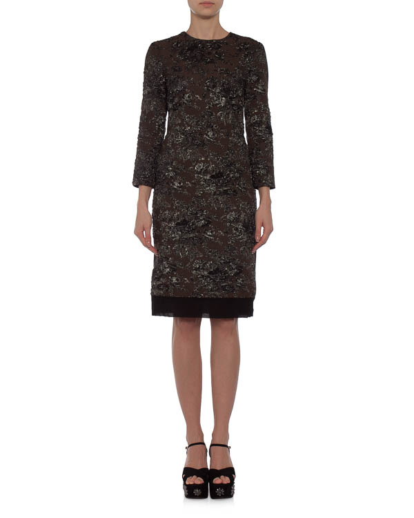 платье с вышитым металлизированной нитью цветочным узором артикул N2MH19254 марки № 21 купить за 37000 руб.