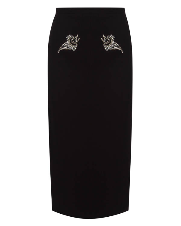 юбка карандаш с отделкой кристаллами и пайетками артикул N2SC012N марки № 21 купить за 47100 руб.