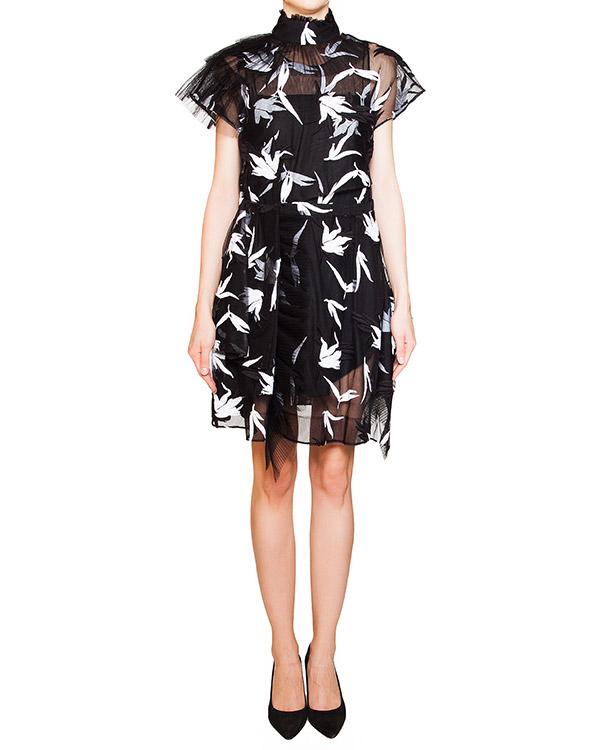 платье многослойное из тонких полупрозрачных тканей, декорировано контрастными узорами и вышивкой  артикул N2SH232 марки № 21 купить за 67000 руб.