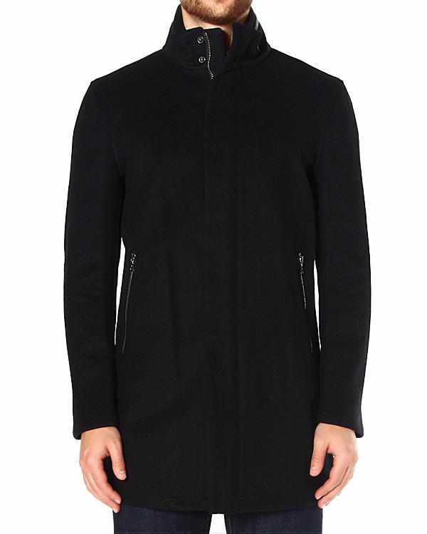 пальто из плотной гладкой шерсти, с серебристыми крупными молниями артикул O1113Q3 марки JOHN VARVATOS купить за 41500 руб.