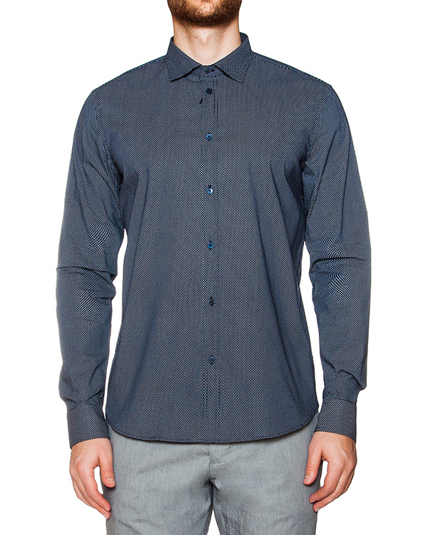 рубашка классического кроя из хлопка с узором артикул OBS16075C104 марки Obvious Basic купить за 4400 руб.