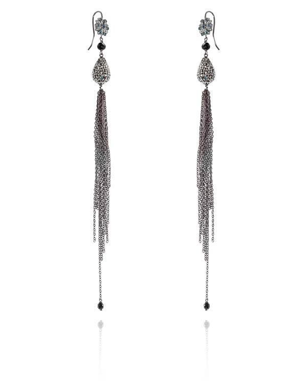 серьги из серебряного ювелирного сплава с отделкой кристаллами  артикул OD0035/17BR марки Rocca Florentina купить за 10500 руб.