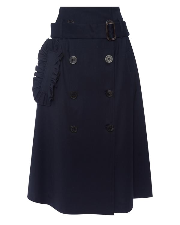 юбка миди из костюмной шерсти артикул P7A211 марки Erika Cavallini купить за 33600 руб.