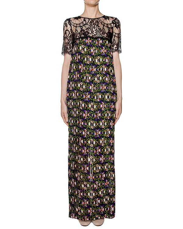 платье из легкой ткани в складку с цветочным принтом, дополнено кружевной отделкой артикул PENKA720453 марки P.A.R.O.S.H. купить за 21300 руб.