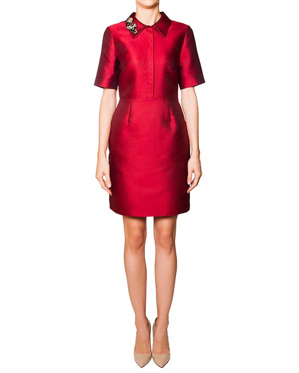 платье приталенного кроя из плотного шелкового твила, украшен кристаллами на отложном воротнике артикул PICABIA720264Z марки P.A.R.O.S.H. купить за 18700 руб.