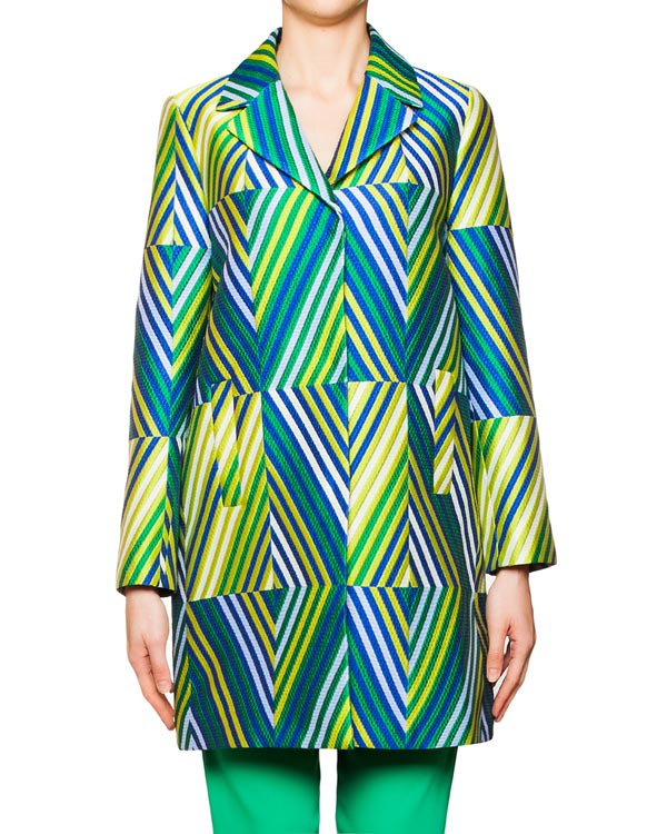 пальто из плотного жаккарда с ярким геометрическим рисунком артикул PSY430060 марки P.A.R.O.S.H. купить за 25200 руб.
