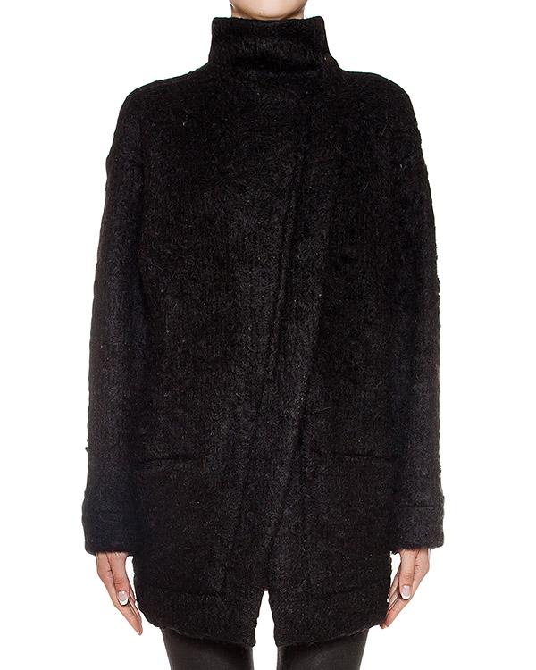 пальто асимметричного кроя из плотной шерсти с вязаными рукавами артикул REJX471-1 марки ROQUE ILARIA NISTRI купить за 26000 руб.