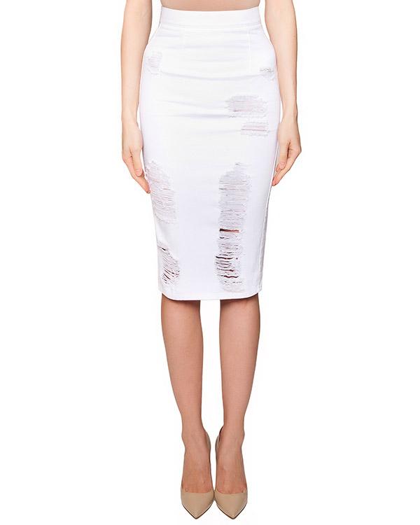 юбка прямого кроя из плотного денима с потертостями артикул S16MSK332ARC марки Marcobologna купить за 7800 руб.