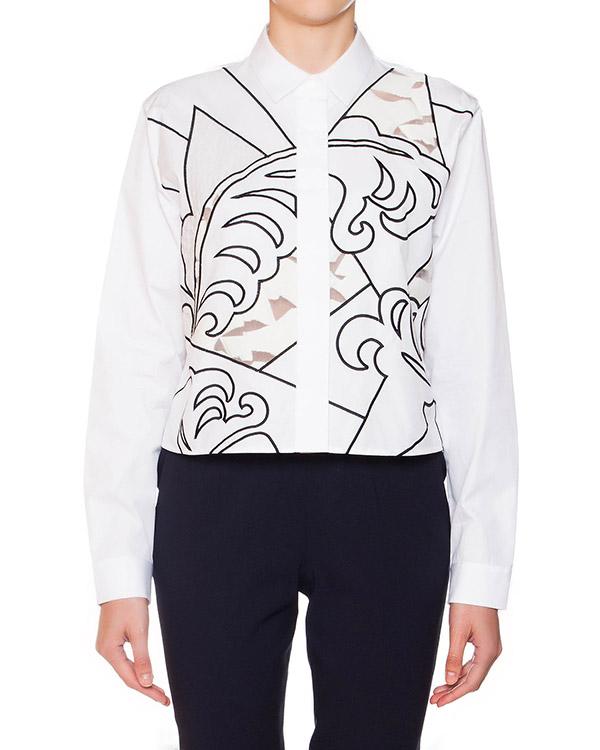 рубашка укороченного кроя из плотного хлопка, декориована фигурной вышивкой артикул S44DL0152 марки VIKTOR & ROLF купить за 64400 руб.