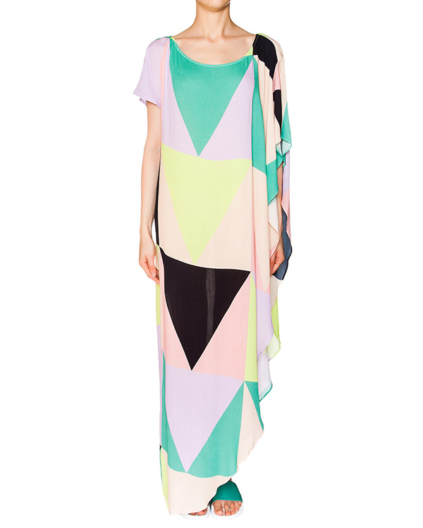 платье асимметричного кроя из легкого трикотажа с геометрическим принтом артикул S611095510 марки Mara Hoffman купить за 25000 руб.