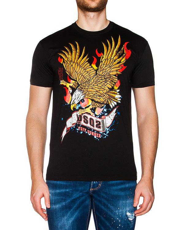 футболка из хлопкового трикотажа с ярким принтом артикул S71GD0392 марки DSQUARED2 купить за 7900 руб.