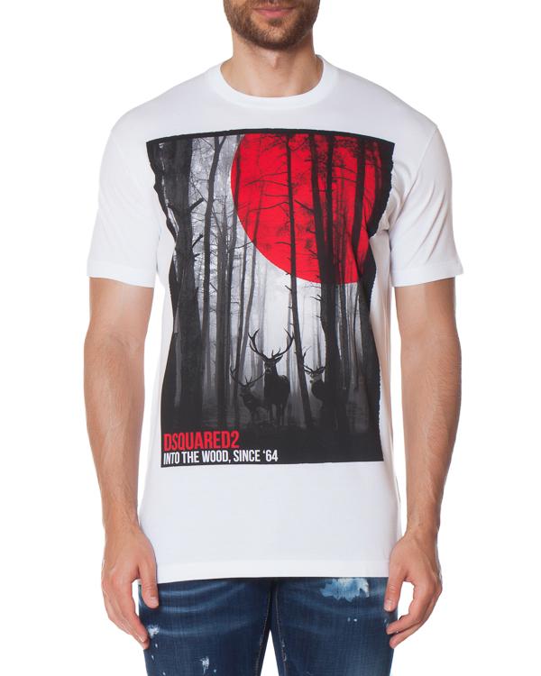 футболка Into The Woods из хлопка  артикул S71GD0556 марки DSQUARED2 купить за 11900 руб.