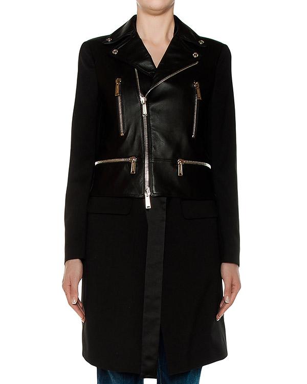 пальто из натуральной гладкой кожи, низ выполнен в виде тренча на завязках артикул S72AA0271 марки DSQUARED2 купить за 141700 руб.