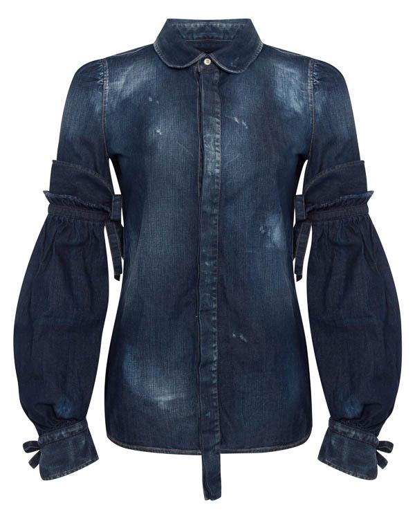 рубашка из плотного денима с декоративными потертостями артикул S72DL0517 марки DSQUARED2 купить за 47100 руб.