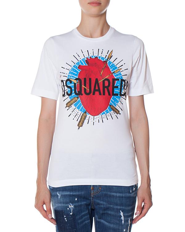 футболка из хлопка с принтом  артикул S72GD0020 марки DSQUARED2 купить за 11000 руб.