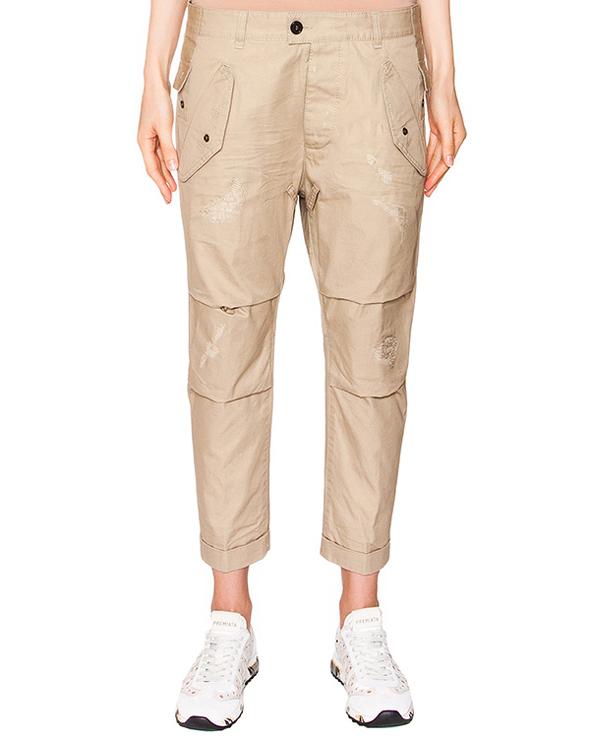брюки укороченные boyfriend из плотного хлопка артикул S72KA0600 марки DSQUARED2 купить за 24200 руб.