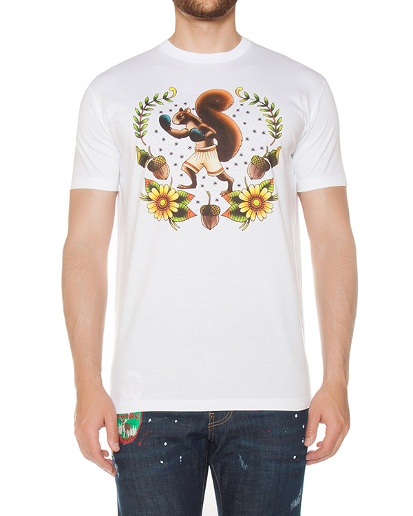 футболка прямого силуэта с принтом артикул S74GD0312 марки DSQUARED2 купить за 12500 руб.