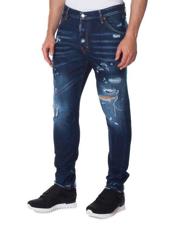 джинсы Slim с эффектными потертостями артикул S74LB0238 марки DSQUARED2 купить за 40700 руб.