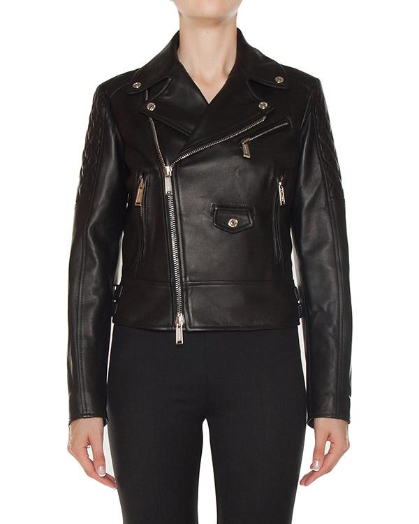 куртка косуха укороченного силуэта из мягкой кожи артикул S75AM0515 марки DSQUARED2 купить за 152600 руб.