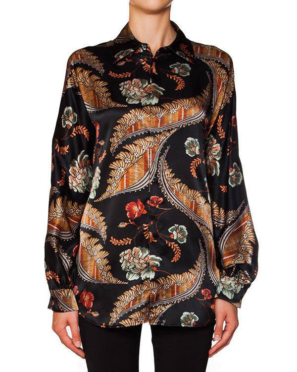 рубашка из струящегося шелка с яркими цветочными рисунками артикул S75DL0440 марки DSQUARED2 купить за 21800 руб.