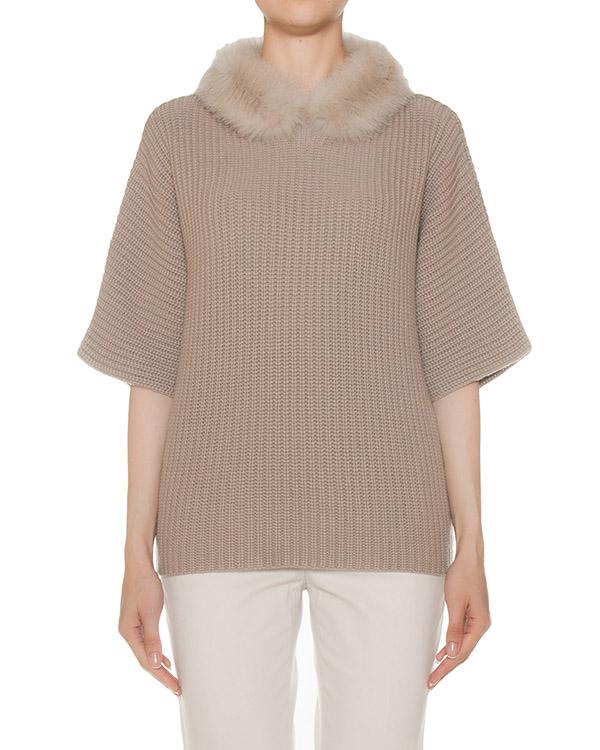 свитер крупной вязки с меховым воротником артикул S99242F05A марки Peserico купить за 38400 руб.