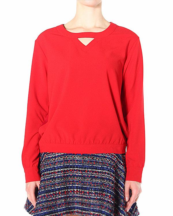 блуза с V-образным вырезом и втавкой из полупрозрачного шифона на спине артикул SCTPT176 марки Thakoon купить за 11900 руб.