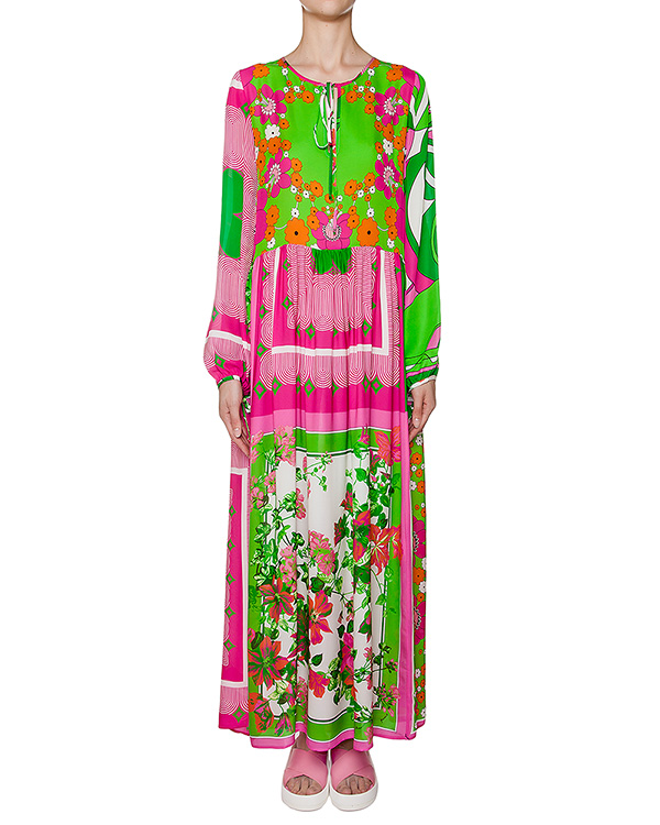 платье из легкого шелка свободного кроя с ярким принтом артикул SECOLOR720470 марки P.A.R.O.S.H. купить за 26800 руб.