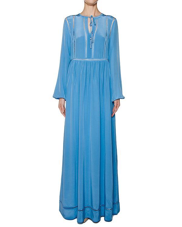 платье в пол из легкого шелка с отделкой артикул SELENE720600 марки P.A.R.O.S.H. купить за 19900 руб.