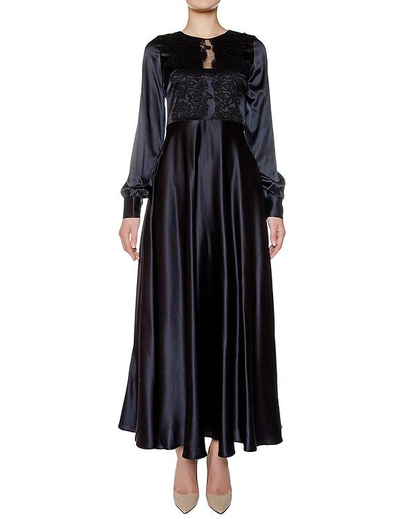 платье в пол из шелка, дополнено кружевом артикул SILSIX721054 марки P.A.R.O.S.H. купить за 31600 руб.