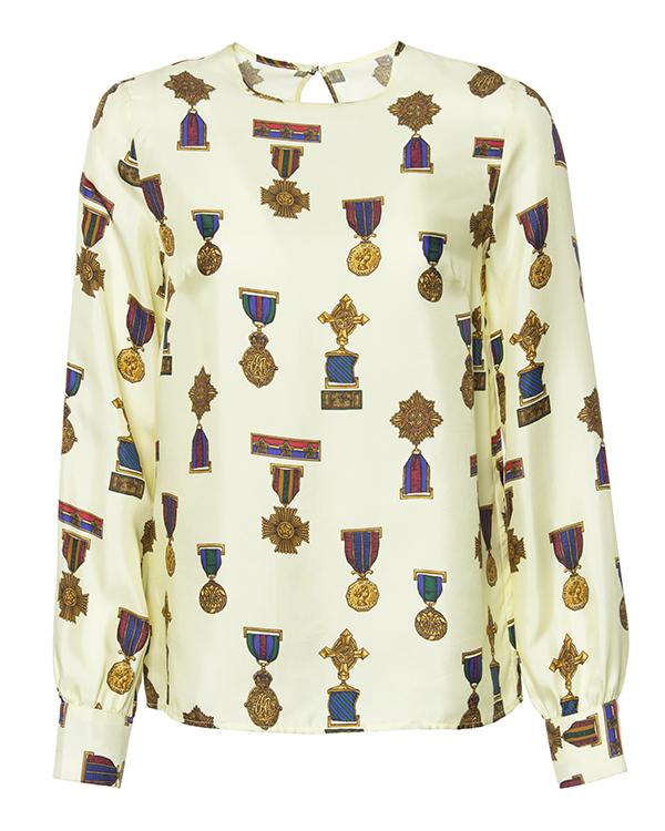блуза из плотного шелка с принтом в виде орденов артикул SOLDIER310218 марки P.A.R.O.S.H. купить за 12600 руб.