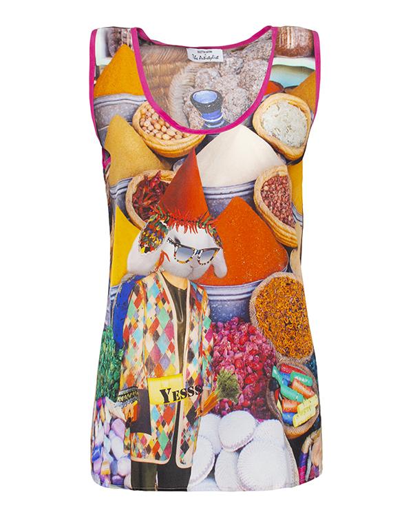 топ из легкого шелка с ярким абстрактным рисунком артикул SPICES марки The Artistylist купить за 10900 руб.