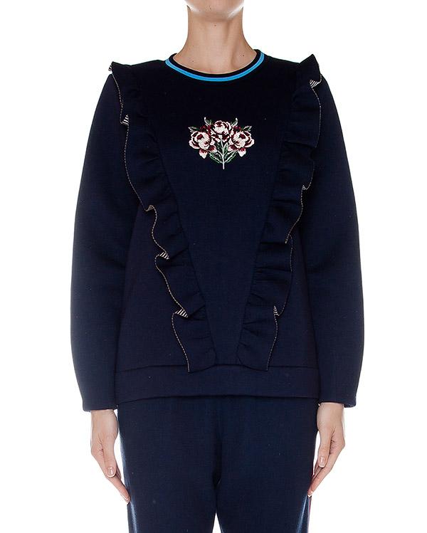 свитшот из мягкого трикотажа с цветочной вышивкой, дополнен оборками артикул SS163331 марки Mother of Pearl купить за 13500 руб.